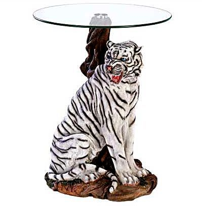 Free Shipping Everyday White Tiger Glass Top Altar Table Mystical Fantasyjewelry Paganism Paga Safari Home Decor Glass Accent Tables Glass Top End Tables White tiger living room decor