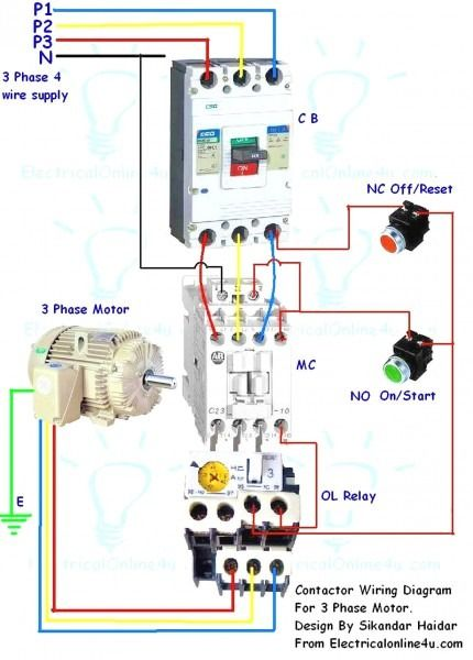 3 phase contactor wiring diagram start stop  electrical