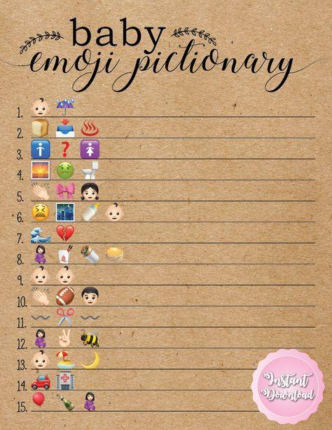 Baby Shower Emoji Pictionary : shower, emoji, pictionary, Shower, Emoji, Pictionary., Games., Rustic, Games, Unique,, Themes