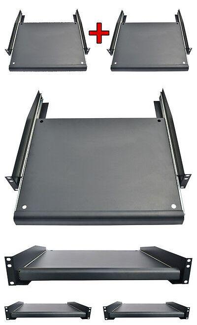2 Pcs 19 Rack Mount Adjustable Pull Out Sliding Keyboard Mouse Shelf Tray Rack Keyboard Mounting