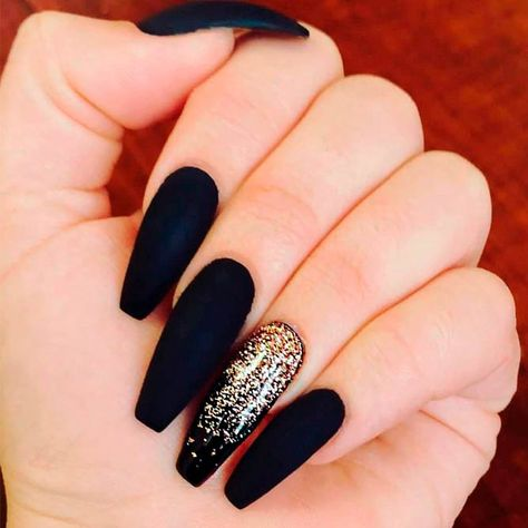 Matte Black Nails With Gold Glitter Ombre #glitternails #coffinnails ❤️ In case you considered matte black nails to be dull and boring this is high time you stop! We suggest to your attention a nice set of fresh and trendy ideas to pull off with matte black!❤️ See more: https://naildesignsjournal.com/matte-black-nails-designs/  #naildesignsjournal #nails #nailart #naildesigns #matteblacknails
