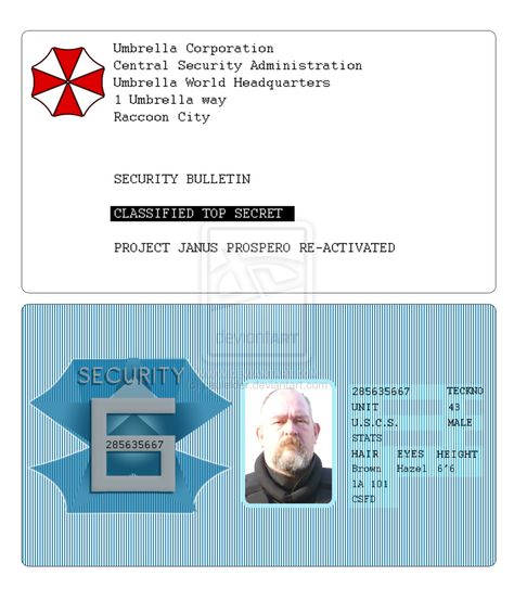 Umbrella Corporation Id Card Re Apocalypse HttpPaulelder