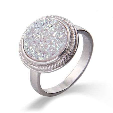 Sterling Silver Round Cabled Iridescent Drusy Ring