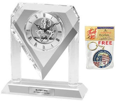 Personalized Silver Da Vinci Arch Diamond Crystal Clock Engraving Plate This Engraved Crystal Desk Engraved Crystal Diamond Crystal Wedding Anniversary Gifts