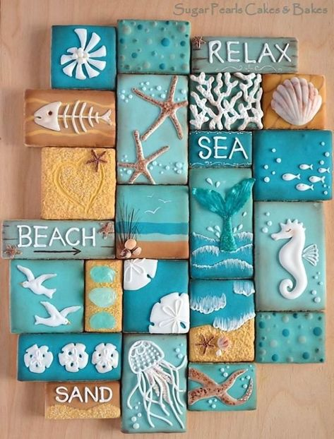 Beach Decor Images Romantic Cottage On The Beach Do you desire to escape to the seaside? These 10 Coastal Cookies will carry you away to beach for a deliciously artistic summer escape! Coastal Cookie Collage via Sugar Pearls Cakes & Bakes. Seashell Crafts, Beach Crafts, Diy Crafts, Beach Themed Crafts, Beach Themed Rooms, Deco Marine, Beach Signs, Shell Art, Beach Art