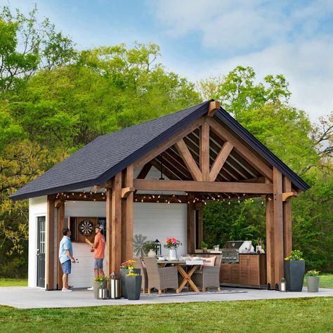 Shed Plans Shed Plans Timber Framed Post & Beam Picnic Shelter Y'all need to make one of these at the farm! Pavilion Shed Plans: How to Build a Shed Backyard Sheds, Pool Shed, Backyard Pavilion, Backyard Buildings, Outdoor Pavilion, Backyard Bar, Garden Sheds, Outdoor Pool, Shed Construction