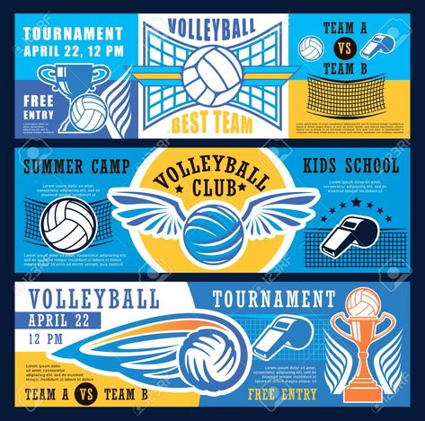 Volleyball Sport Game Tournament Banners Or Kids Sport School And Club Camp Vector Design Of V Summer Camps For Kids Volleyball Banners Volleyball Tournaments
