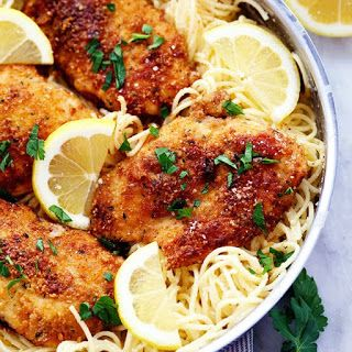 Crispy Parmesan Chicken With Creamy Lemon Garlic Pasta With Chicken Breasts Butter Italian Style B Lemon Garlic Pasta Lemon Chicken Pasta Garlic Pasta Recipe