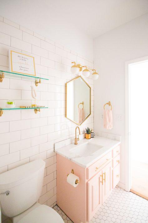 Modern Glam Blush Girls Bathroom Design | CC and MIke | Design Blog