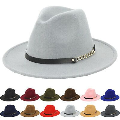 Women Vintage Wool Felt Fedora Hat Floppy Trilby Hat with Belt Buckle