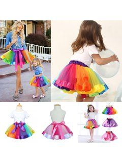Mother And Daughter Girl Tutu Skirt Dance Ballet Dress Rainbow Bow Costume Dress