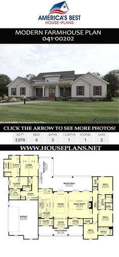 House Plan 041 00202 Modern Farmhouse Plan 3 076 Square Feet 4 Bedrooms 3 5 Bathrooms Modern Farmhouse Plans Farmhouse Plans Farmhouse Floor Plans