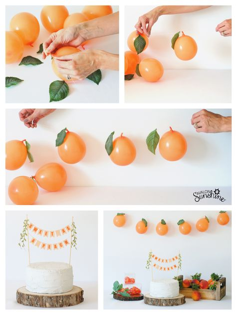 SWEET AS A PEACH Party Ideas - - SWEET AS A PEACH Party Ideas The Best of Avalon Sunshine Sweet as a Peach is the cutest new theme for baby showers or birthday parties. Cake topper, fresh peaches and balloon garland come together for simple party decor. Girl Birthday Themes, Girl First Birthday, First Birthday Parties, Birthday Party Decorations, 1st Birthdays, Crafts For Birthday Parties, 1st Birthday Party Ideas For Girls, Birthday Event Ideas, 1st Birthday Balloons