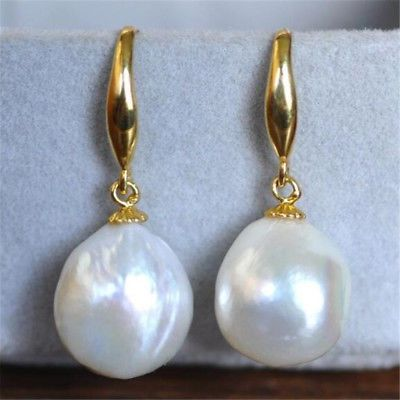HUGE 12-10mm South Sea White Baroque Pearl Earrings 14K YELLOW GOLD CLASP REAL