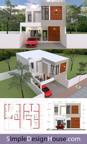 Buy This House Plan Modern House Design 7x13m With 3 Bedrooms Layout Detailing Floor Plan Elevation Plan With Dimens In 2020 Modern House House Design House Layouts