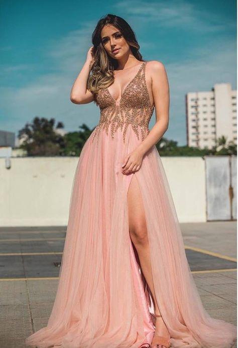 Vestido Longo Rose Gold Em 2019 Vestido Rose Longo