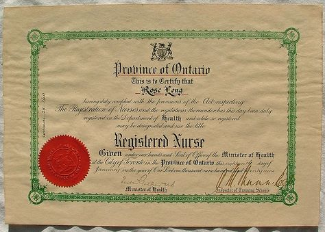 Province of Ontario Registered Nurse Certificate, 1929 #vintage - medical assistant certificate