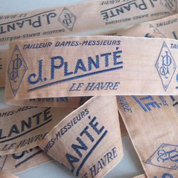 14 Antique FRENCH Couture SILK Labels J. PLANTE Tailleur Le Havre NORMANDY 49