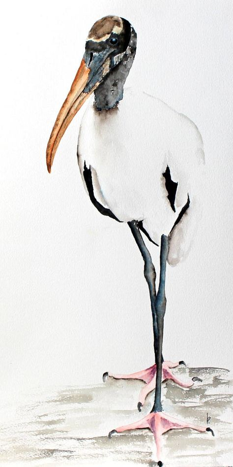 Original watercolor painting bird art Wood Stork Mr.