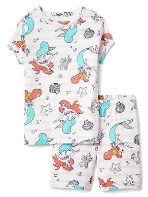 GAP Kids Girls Disney Little Mermaid Shorts Pajamas 10