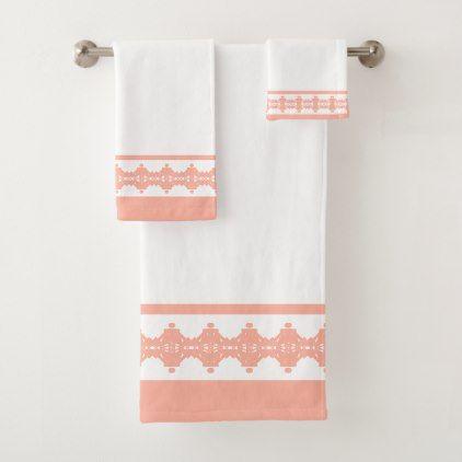 Elegant Coral White Geometric Pattern Bath Towel Set Zazzle