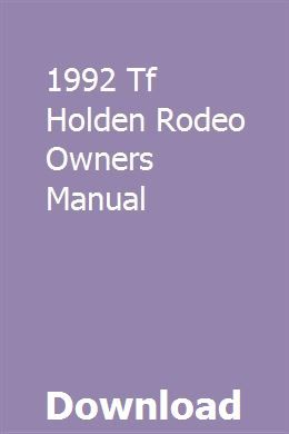 1992 Tf Holden Rodeo Owners Manual Chilton Manual Owners