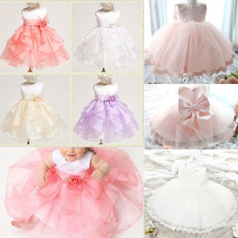 Infant Girl Princess Dress Baby Bow Wedding Xmas Party Pageant
