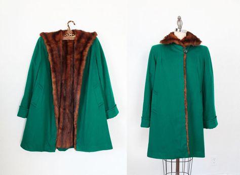 1940s Coat / 40s Swing Coat / Emerald Green by GuermantesVintage