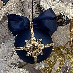 Christmas rhinestones ornaments, Handmade balls in gift box, Xmas decorations, Tree decor set, Red baubles