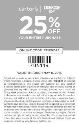 Shop Carter S Oshkosh Canada Friends Family Sale May 6 2016 Oshkosh Carters