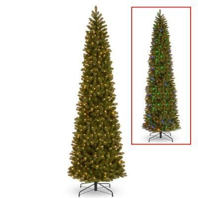National Tree Company 12 Ft Downswept Douglas Pencil Slim Fir Tree With Dual Color Led Lights With Images Slim Tree Pre Lit Christmas Tree Led Color