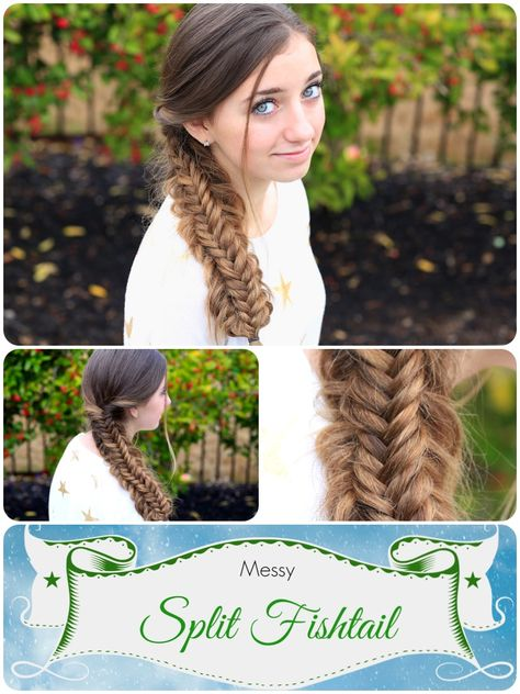 Messy Split Fishtail Braid.  Looks crazy complicated...but it's easy.  Love the boho feel.  #hairstyles #CuteGirlsHairstyles #CuteGirlHair #hairstyle #braid #braids #fishtail
