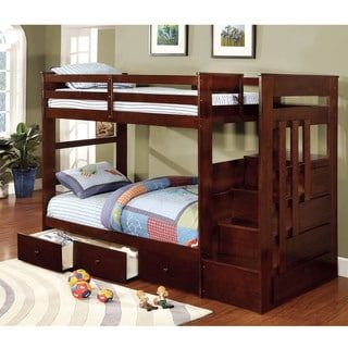 Furniture Of America Brentor Classic Dark Walnut Twin Over Twin Bunk Bed Bunk Beds With Drawers Bunk Bed Designs Twin Bunk Beds