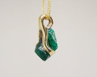 Gift For Her... Natural Emerald Pendent,In925 Sterling Silver Handmade Emerald Necklace
