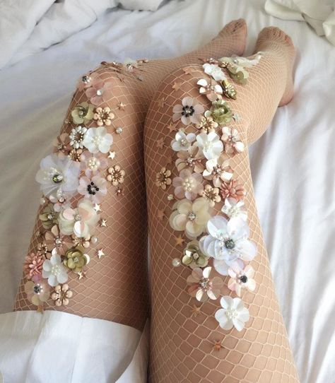 She takes inspiration from the natural world to create delicate, hand-beaded stockings that are beyond astonishing. Photo - Lirika Matoshi makes sparkly tights for fairy queens Fishnet Stockings, Fishnet Tights, Grey Tights, Nylons, Sparkly Tights, Sparkly Clothes, Fashion Details, Fashion Design, Couture Details