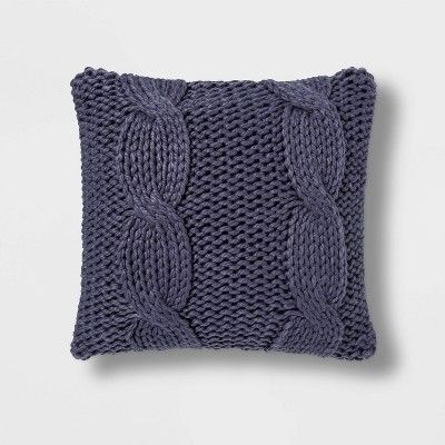 Cable Knit Pillow Cover Aqua Turquoise Knit Throw Pillow Decorative Pillow Hand Knit Pillow Case 16x16 Pillow Cover Knitted Cushion Covers Knitted Cushions Knit Pillow