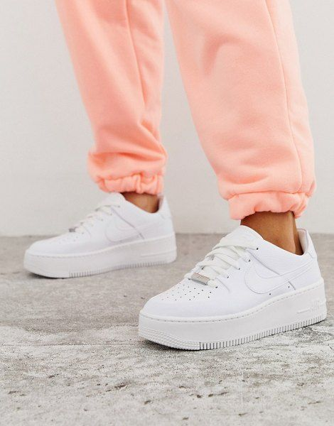 Nike White Air Force 1 Sage Low Sneakers Nike Air Force White Nike Air Force Outfit Nike Air Force 1 Outfit Trying to decide between the original nike air force 1 and the af1 sage low? nike white air force 1 sage low