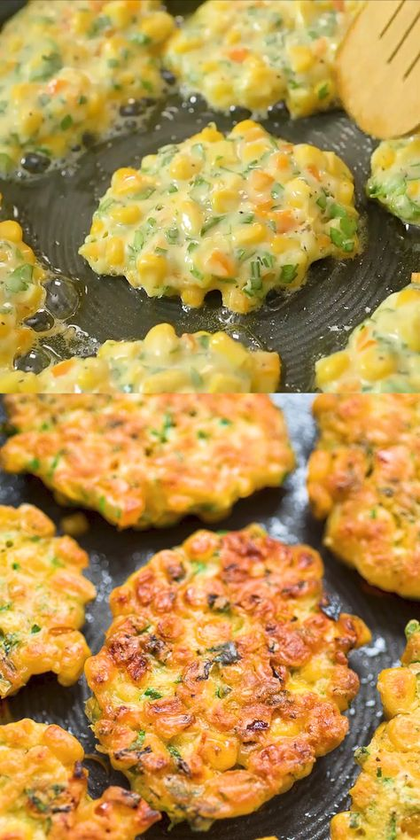 These easy Corn Fritters are sweet, delicate, and filling. They can be prepared with fresh, frozen, or canned corn. Simple recipe – great taste! FOLLOW Cooktoria for more deliciousness! #corn #fritters #lunch #snack #sidedish #kidfriendly #yummy #recipeoftheday