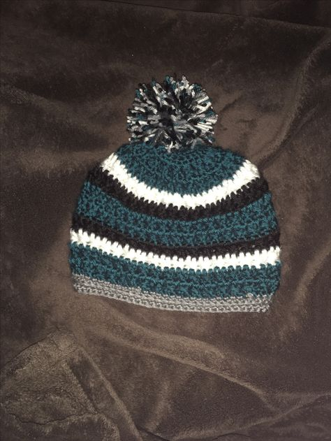 3885ae9f6 Philadelphia Eagles colors. Pebble texture hat pattern from ...