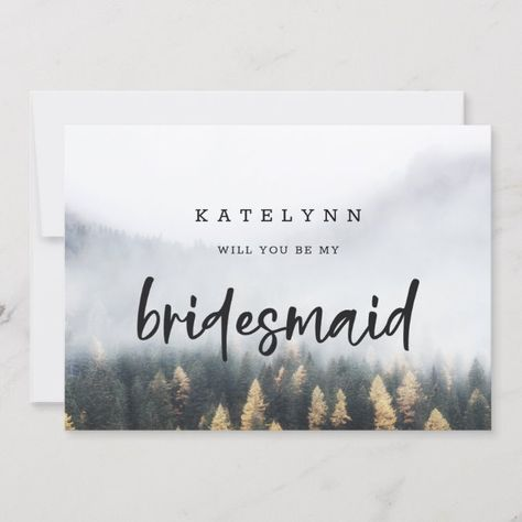 #promo Rustic Mountain Pine Tree Bridesmaid Proposal Card #will #you #be #my #rustic #weddingparty #bridalparty #proposalcards #bridesmaidproposal #maidofhonorproposal #weddingcards #zazzle #weddingpartyproposal