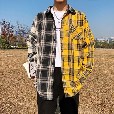 Men Oversize Plaid Patchwork Button Long Sleeve Shirt SF – loveitbabe