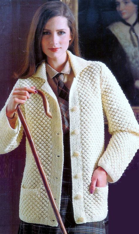 Ladies Aran Fishermans Sweater / Jacket for sizes 32 -38 Inches - Vintage Knitting pattern - PDF Instant Download