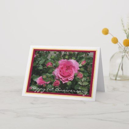 Happy First Wedding Anniversary Pink Roses Card With Images Happy First Wedding Anniversary Anniversary Cards First Wedding Anniversary