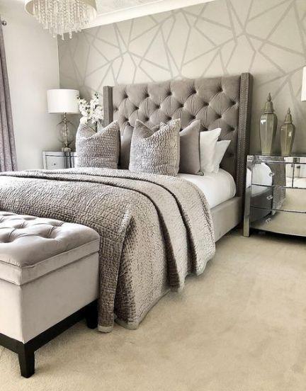 40 Ideas Bedroom Wallpaper Grey Beds Bedroom In 2021 Grey Wallpaper Bedroom Feature Wall Bedroom Grey Bedroom Decor