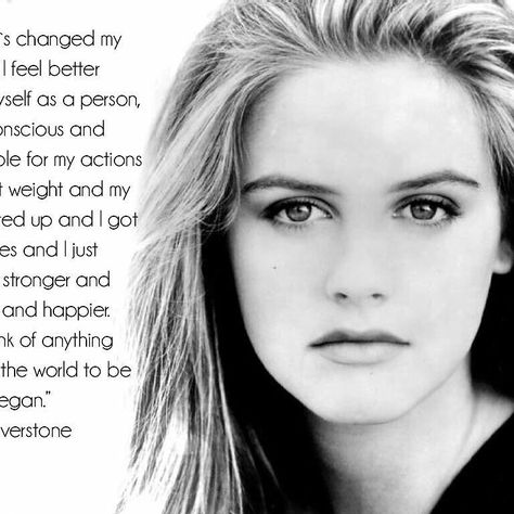 """A famous animal lover @aliciasilverstone has been vegan since 1998 when she was 21. Before she made the switch she says she was battling severe asthma insomnia acne and constipation. """"I used to have all those white marks on my nails and they were very brittle and now they're so strong I cannot bend them"""" she said on Oprah. After adopting a vegan diet she says those issues cleared up """"and I feel like I look less puffy."""" #Vegan #WhatVegansEat #EatforthePlanet #vegansofig #GoVegan"""
