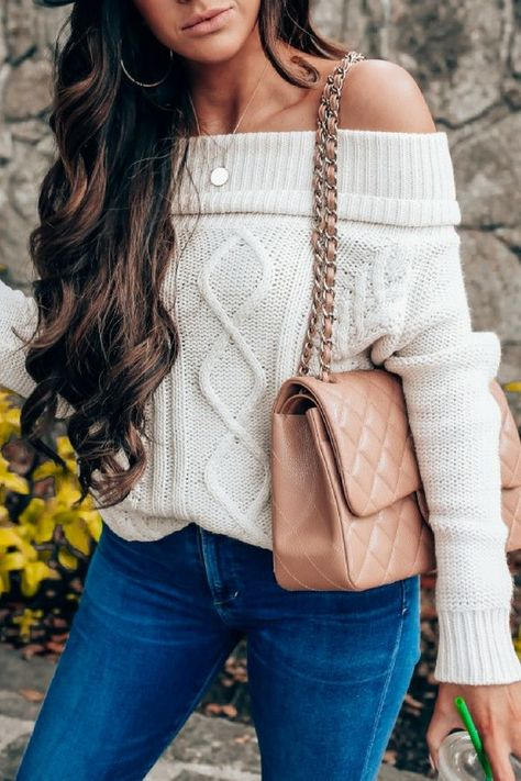 Off-The-Shoulder Cable Knit Sweater in Carmel