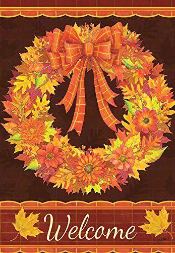 Rain Or Shine Large Fall Porch Flag Welcome Fall Wreath