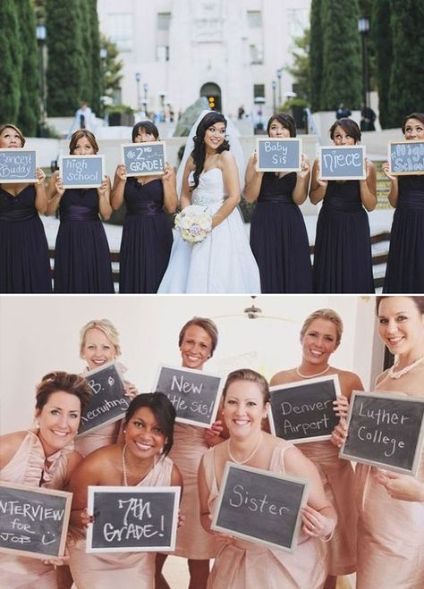 How do you know the bride? Have your bridesmaids hold a sign of how they met you, how they are related to you, or simply of their favorite thing you two do together. Wedding Photos, Wedding Party