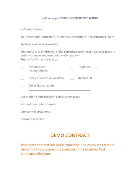 Employee Notice Of Corrective Action  The Employee Notice Of