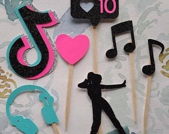 Tik Tok Cupcake Toppers Pink Tik Tok Birthday Party Toppers Etsy In 2021 Party Topper Happy Birthday Cake Topper Birthday Fun